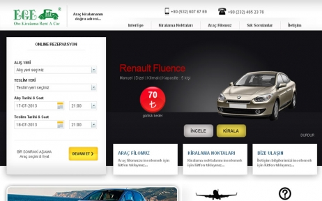 web tasarım, Inter Ege Oto Kiralama / Rent a Car